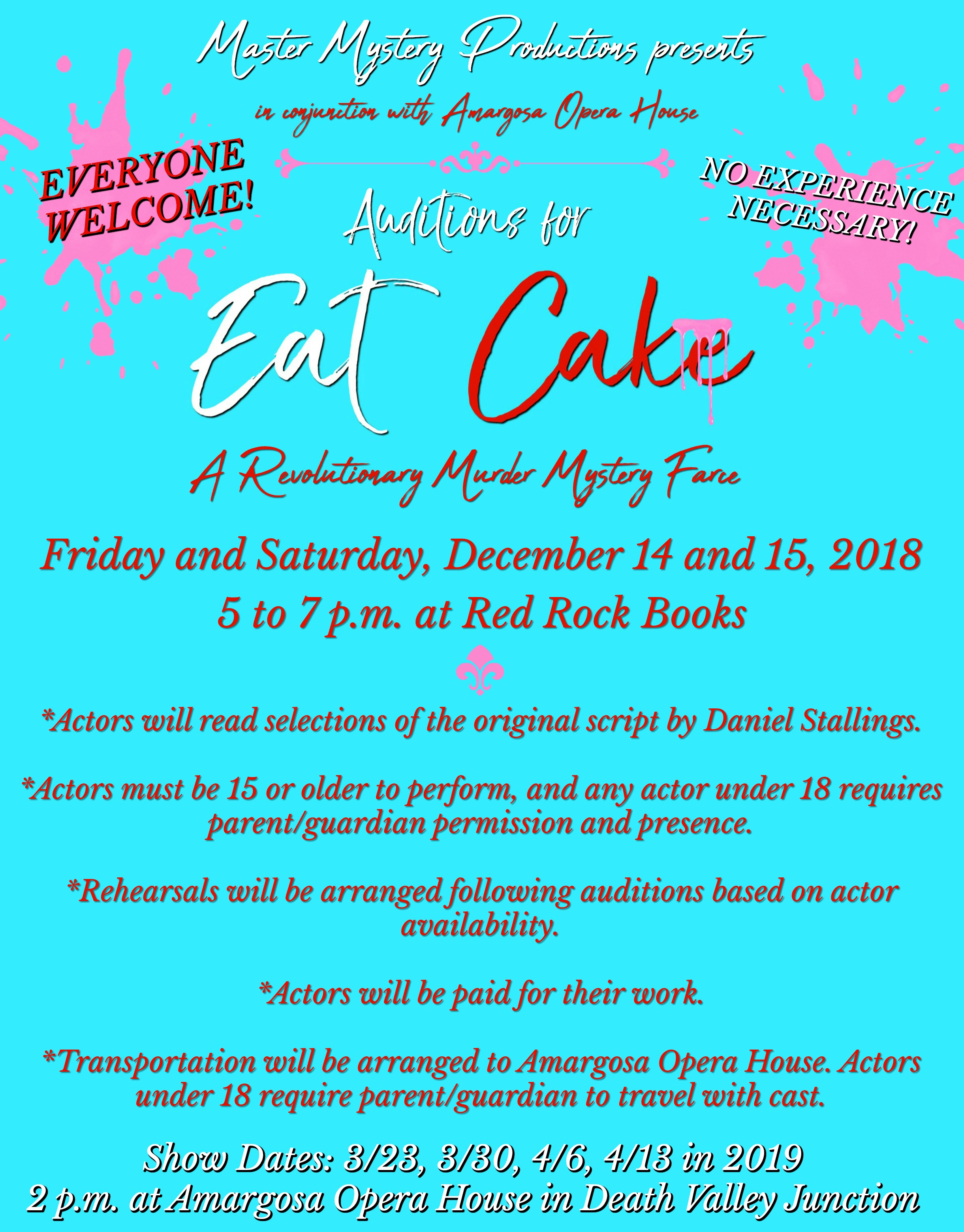 Auditions for Eat Cake – Master Mystery Productions